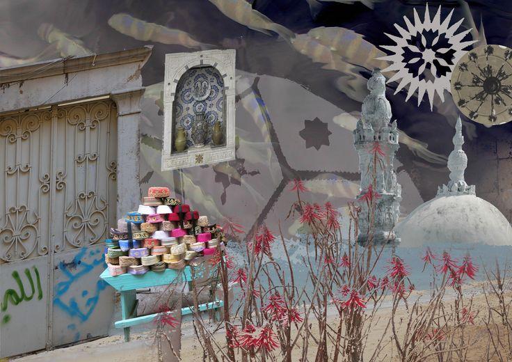 Hat kiosk. Photoshop composition by Yasmine Dabbous, Kinship Stories' designer.