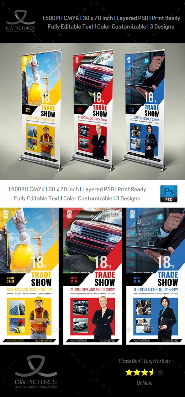 Trade Show Signage Banner Roll-Up Template PSD