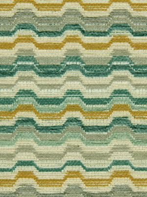 Aqua, Teal, Jade, Sage, Cream, Gray and Colonel Mustard Make Up This Wavy Horizontal Stripe Upholstery Piece called Helena.