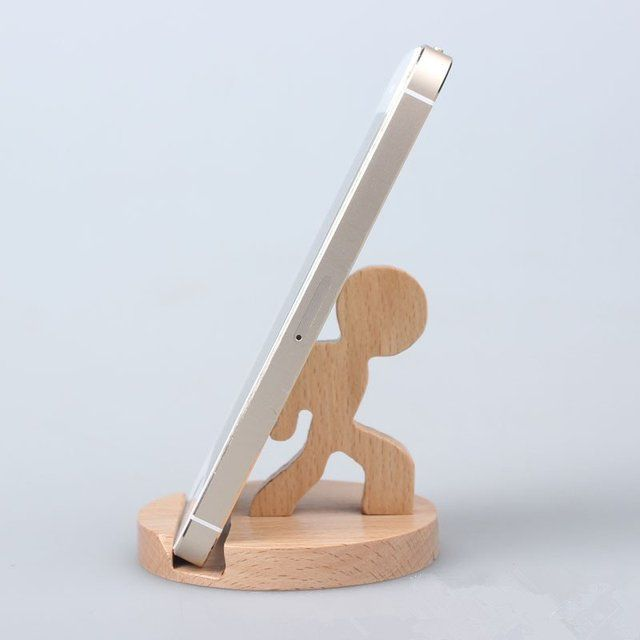 Wooden Creative People Phone Holder.
