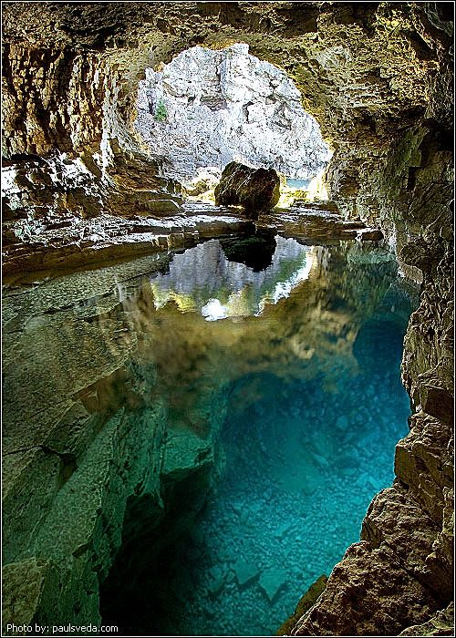 An interesting perspective from the Grotto in Bruce Peninsula National Park.