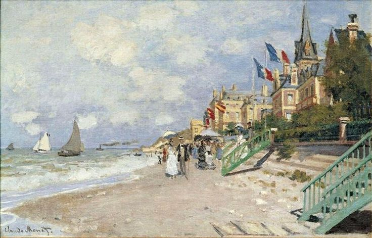 The Boardwalk on the Beach at Trouville, 1870 - Claude Monet