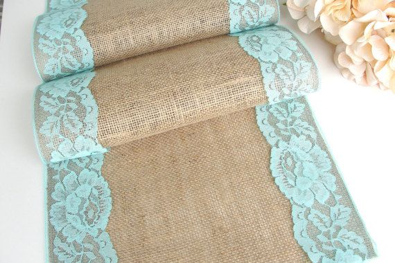 Aqua Wedding table runner lace on natural burlap by HotCocoaDesign