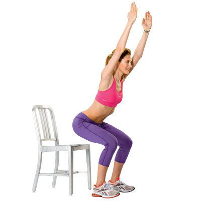 Try these 18 exercises that tighten and tone your legs from butt to ankles and everything in between, like this chair squat. | Health.com