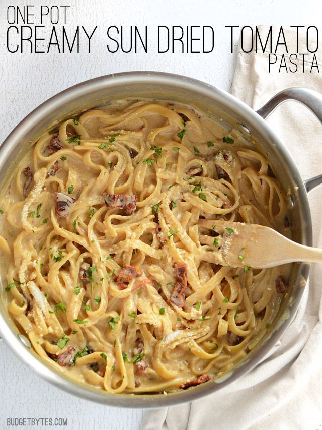This incredibly fast and easy Creamy Sun Dried Tomato Pasta cooks in 30 minutes and uses just one pot. Make dinner delicious any night of the week! @budgetbytes