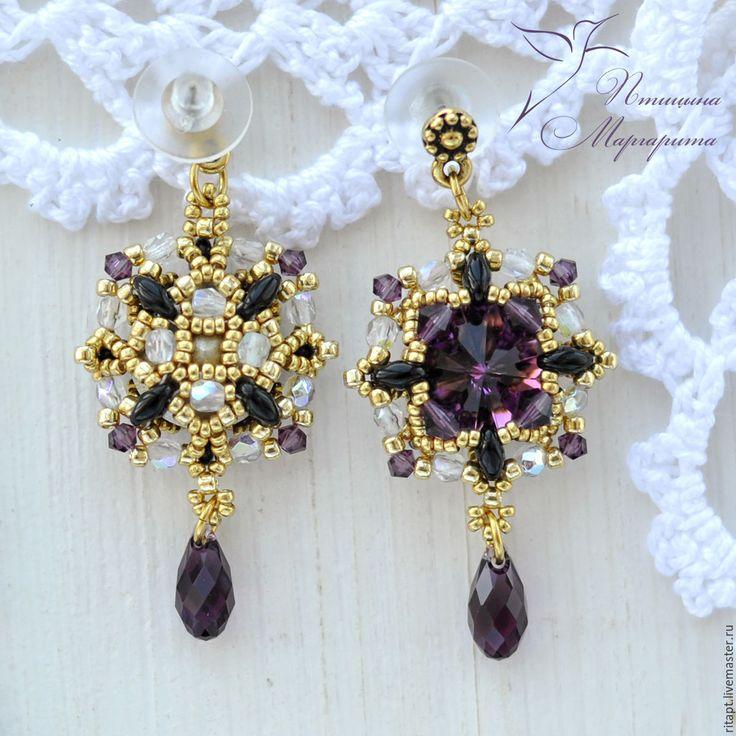 Купить Вечерние серьги с кристаллами Сваровски (swarovski), серьги из бисера - фиолетовый, серьги, вечерние серьги