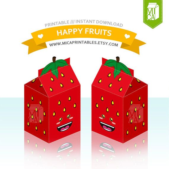Happy Fruits Printable Party Favor Treat Gift by MicaPrintables