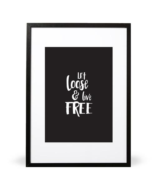 Let Loose and Live Free art print. Shake it off! Let's live free. Part of the In the Wilderness collection. Featuring handwritten typography. Available in either A4 (21 x 29.7cm) or A3 (29.7 x 42cm). Embossed with Intricate Collections logo at bottom right. Original artwork by Intricate Collections.