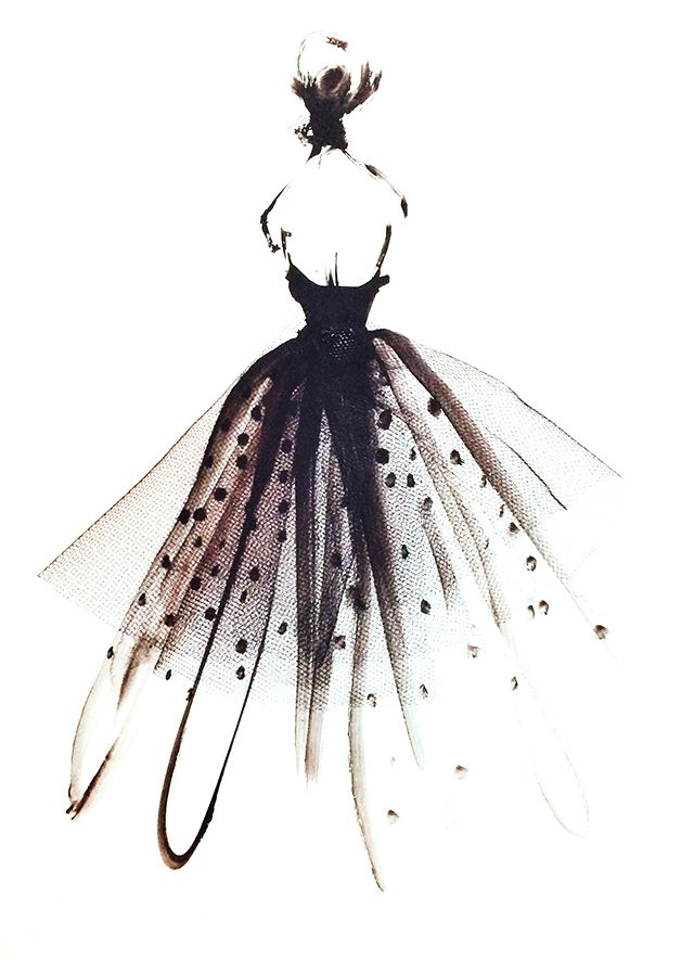 Beautiful fashion illustration - glam tulle dress sketch // Katie Rodgers
