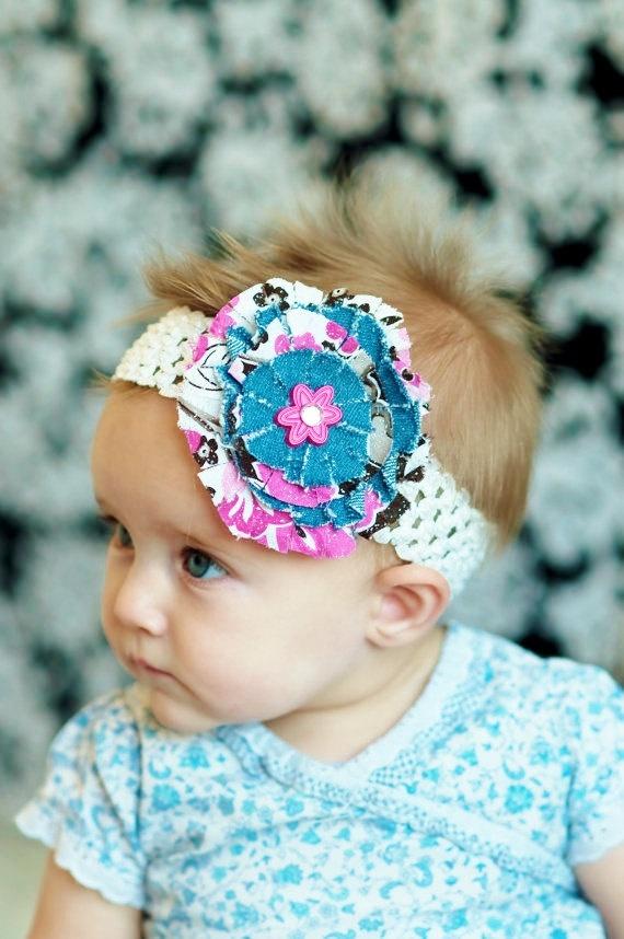 baby hair bow...levi fabric  hair bow clips...big girl hairbow and  headband..fabric hairbow... for baby, toddlers or little girls. $7.99, via Etsy.