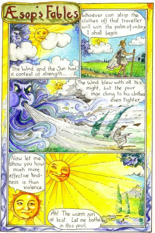 Aesop's Fable about the sun and wind. Who is stronger? Violence or Kindness?