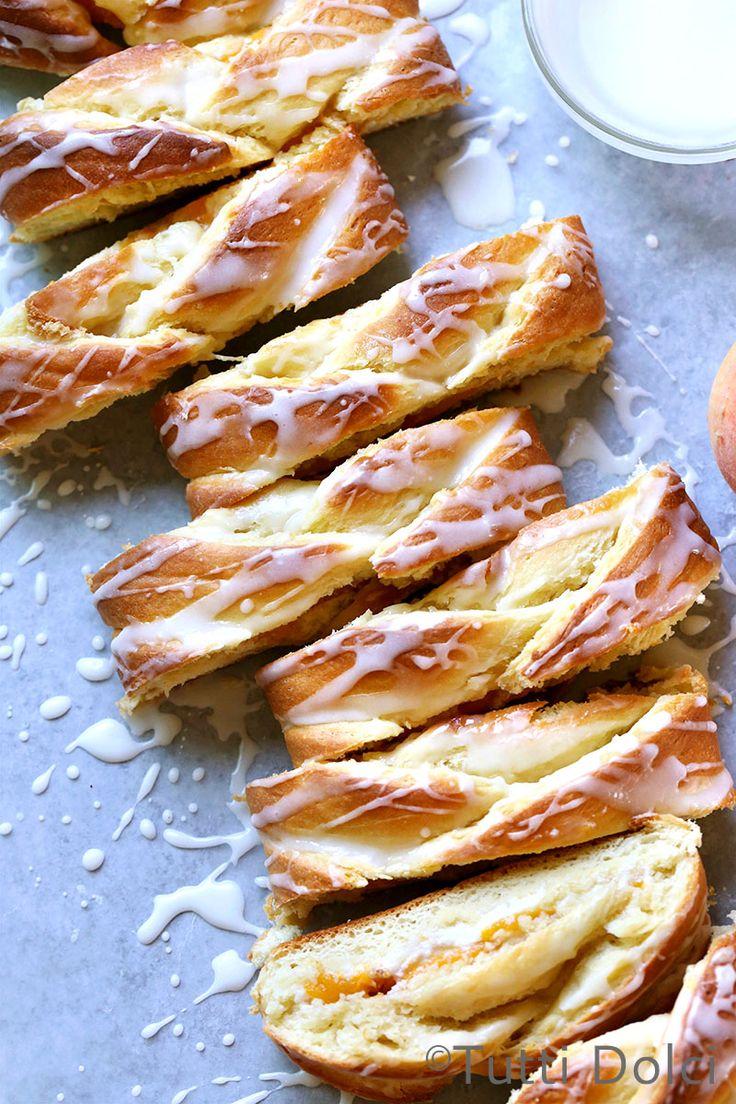 Peach Danish Braid filled with sweetened cream cheese and peaches