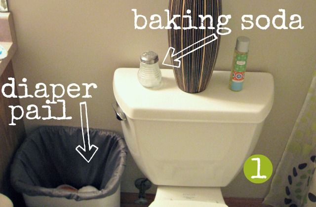 bathroom cloth diaper pail and baking soda shaker