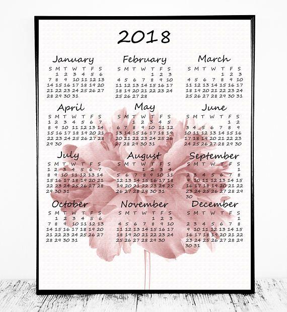 Year At A Glance Calendar 2018 Calendar 2018 Wall Calendar