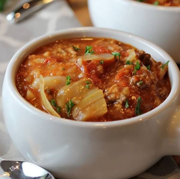 Cabbage Soup  4 c cabbage chop 1 lb grn beef 1 tsp Worc sc 1 tsp salt 1 tsp paprika 1 onion chop 3 cloves garlic mince ½ c water 1 tsp oregano ½ tsp basil 680 mL can tomato sauce (3 cups) 796 mL can diced tomatoes (4 cups) 1 c rice uncooked  Add onion, garlic, Worce sc, paprika, beef & salt on med  Cook til beef browns 7-10 min To crockpot add cabbage, oregano, basil, tom sc, diced toms, water & beef mix  stir to combine Cover, cook low 8-10 hr last 1/2 hr, cook rice   Add rice to crockpot…