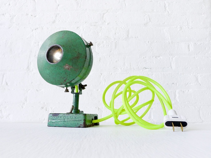 10% SALE - Antique Industrial Green Spotlight Lamp w/ Neon Yellow Net Color Cord. $607,50, via Etsy.