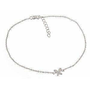 Sterling Silver CZ Butterfly Anklet Overstock Silver. $29.40. 30 DAY Returns & Exchanges! You may return or exchange your unworn jewelry within 30 days.. FREE gift boxes and jewelry pouches included with every item purchased from OVERSTOCK SILVER! Makes for a wonderful gift presentation. FREE chain included with every pendant purchased from Overstock Silver!. EVERY ITEM purchased from Overstock Silver comes with a LIFETIME warranty!. $2.95 SHIPPING on all STANDA...