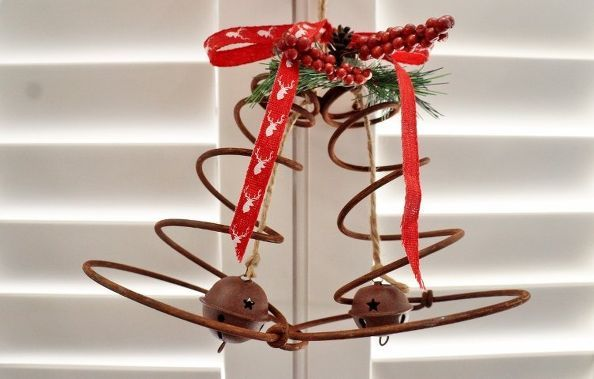 Rustic Christmas bells made from old bed springs.