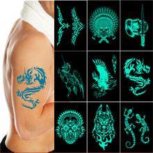 6 pz/lotto nuovo Lago Verde Glow in The dark flash Tatuaggi adesivi Pirata Lupo Drago tribal skull totem tatoo fasullo fluorescente uomini(China (Mainland))