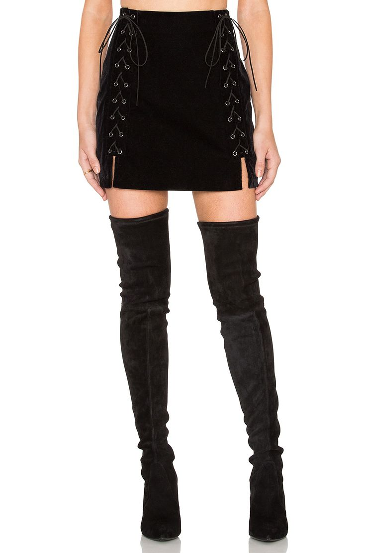 Endless Rose Lace Up Mini Skirt in Black