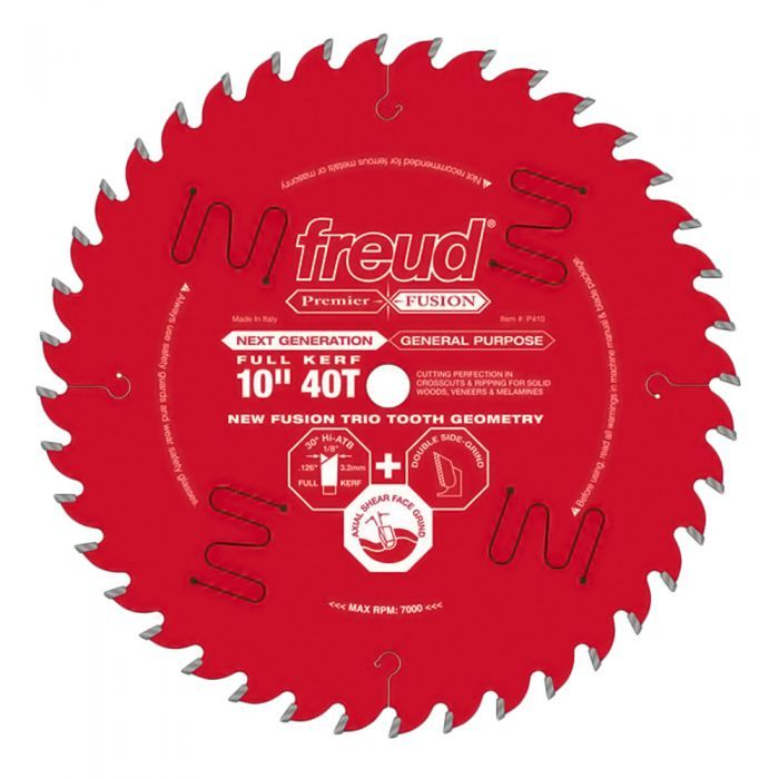 Freud 10 X 40t Premier Fusion General Purpose Saw Blade P410 In 2020 Table Saw Blades Best Table Saw Table Saw