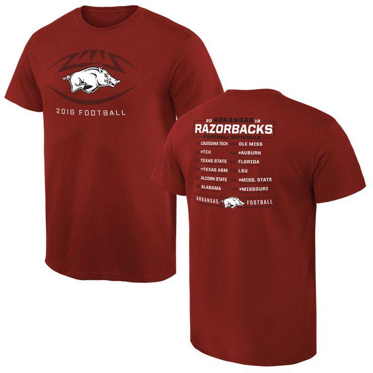 Arkansas Razorbacks 2016 Football Schedule T-Shirt - Cardinal