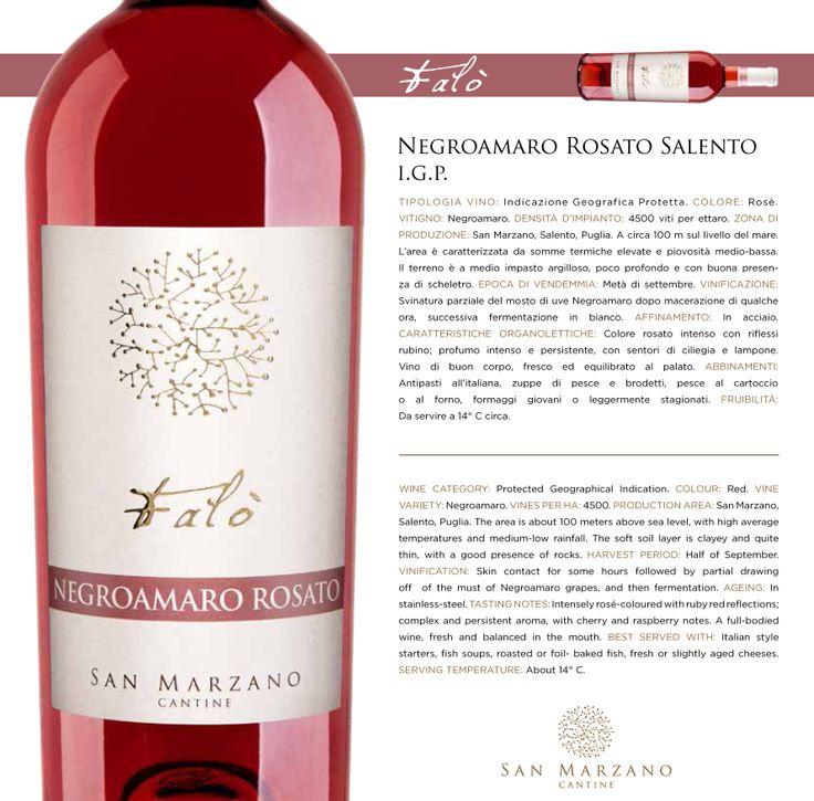 #Negroamaro #Rosato #Salento I.G.P.:  Colore  rosato  intenso  con  riflessi  rubino;  profumo  intenso  e  persistente,  con  sentori  di  ciliegia  e  lampone.  buon   corpo,   fresco   ed   equilibrato   al   palato.  Intensely rosé-coloured with ruby red reflections; complex and persistent aroma, with cherry and raspberry notes. A full-bodied wine,  fresh  and  balanced  in  the  mouth. #sanmarzanocantine #puglia  #italy  #salento  #winetasting #winelover #winelovers #vinho #apulia #wine