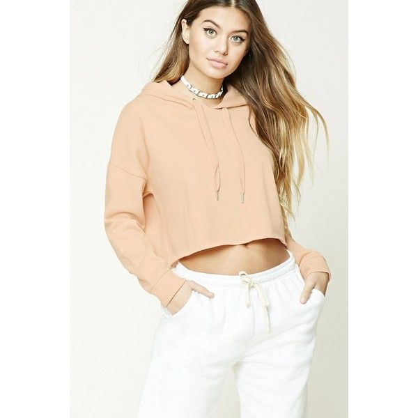 Forever21 Cropped Raw-Cut Hoodie ($16) ❤ liked on Polyvore featuring tops, hoo…