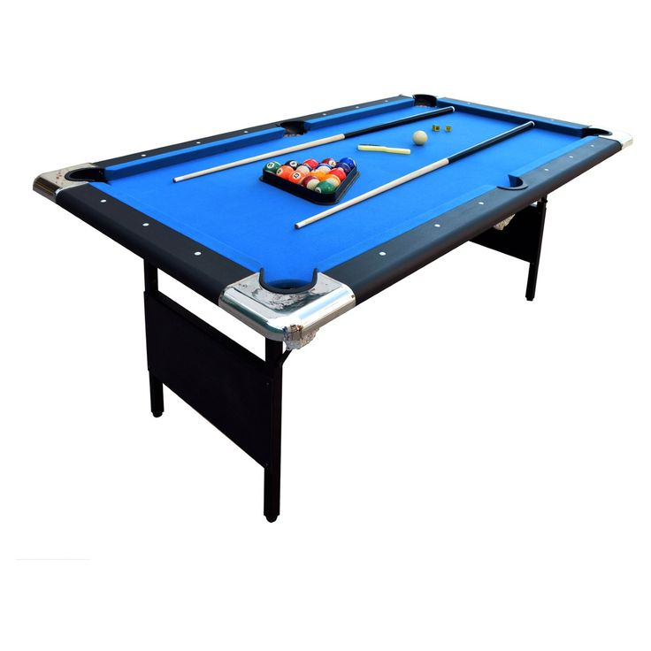 The handsome and portable Hathaway Fairmont 6 ft. Portable Pool Table includes all you need to play pool and folds up for easy storage or portability. This portable pool table set includes a full set of billiard balls, two pool cues, two pieces of cue chalk, a table brush, a triangle rack, and a polyester bag. (SNX714-1)