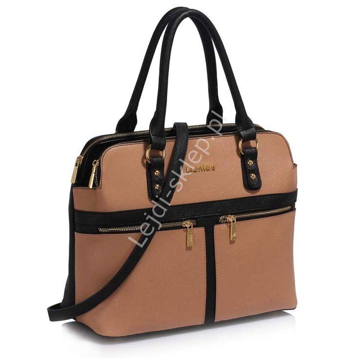 Two tone Pippa Middleton style bag, Dwukolorowa beżowo czarna  torebka z kieszeniami w stylu Pippy Middleton
