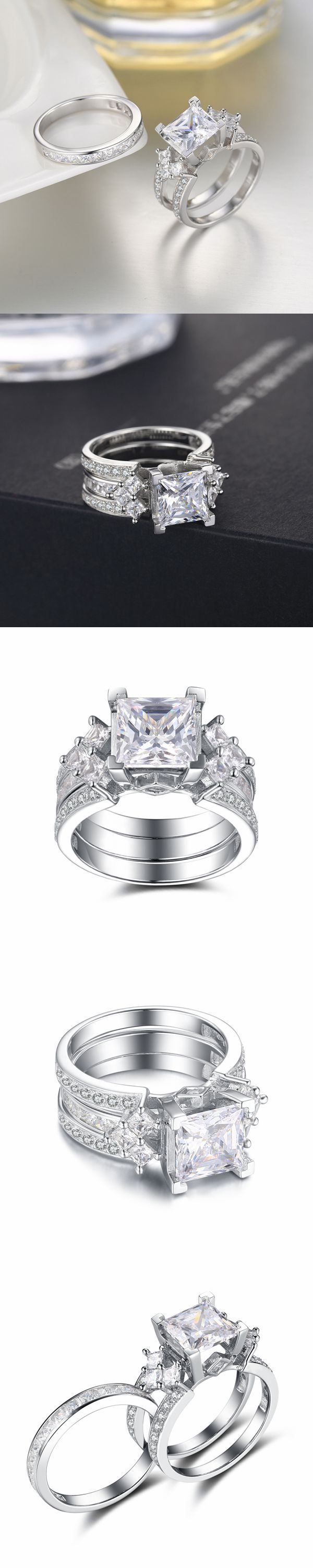 Lajerrio Jewelry Princess Cut White Sapphire S925 Ring Sets