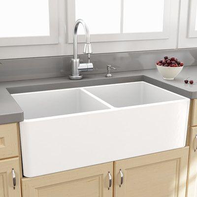 "Nantucket Sinks Farmhouse 33"" x 18"" Double Bowl Kitchen Sink with Grids & Reviews | Wayfair"