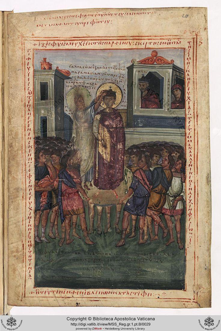 281r Nathan prophetae in Salomonis regis caput coronam ponentis pictura