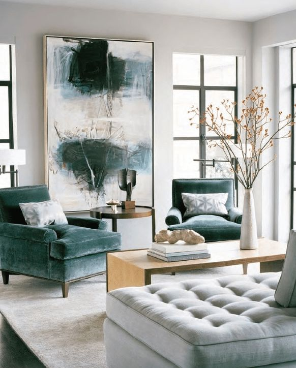 Abstract Expressionist Painting In Living Room With Beautiful Teal Velvet  Chairs. Art Is One Of Our Top Interior Design Trends For Use Large Artwork  To Add ...