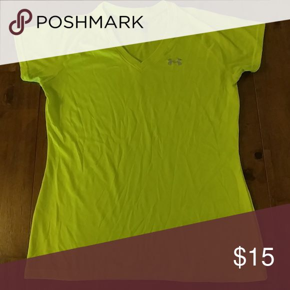 Under Armour - Semi fitted, Heat gear Under Armour - Semi fitted, Heat Gear. Neon yellow, only worn once. Dry fit material. Womens cut. Great workout top! Under Armour Tops Tees - Short Sleeve