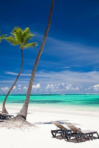 A pristine white sand beach of the Dominican Republic.