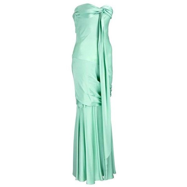 Preowned Unlabeled Mint Green Satin 30's Look Gown ($1,125) ❤ liked on Polyvore featuring dresses, gowns, evening gowns, green, green evening gown, green ball gown, satin evening gown, strapless gown and green corset