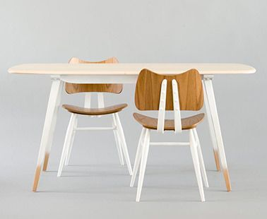 Table_Ercol_Windsor Plack Table Solid elm table top and turned beech timber legs.