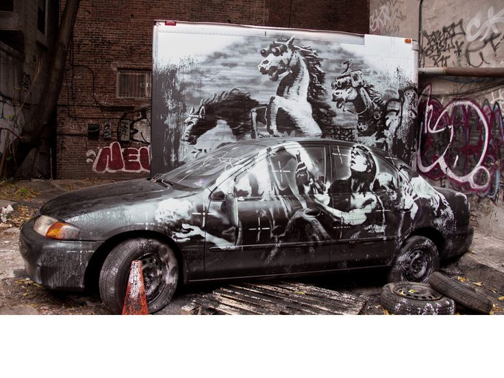 Banksy, made in New York City. In the year 2013. There were eight plus stencils used to create this. Because, of the different amounts of layering.