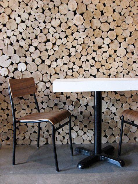 Woodpile wall treatment.