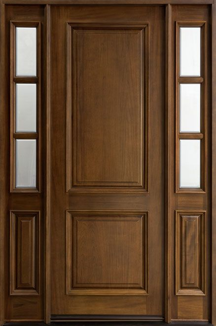 Classic Series Mahogany Solid Wood Front Entry Door - Single with 2 Sidelites - DB-301T 2SL