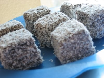 Lamingtons anyone? (Jam-filled wedge of cake)