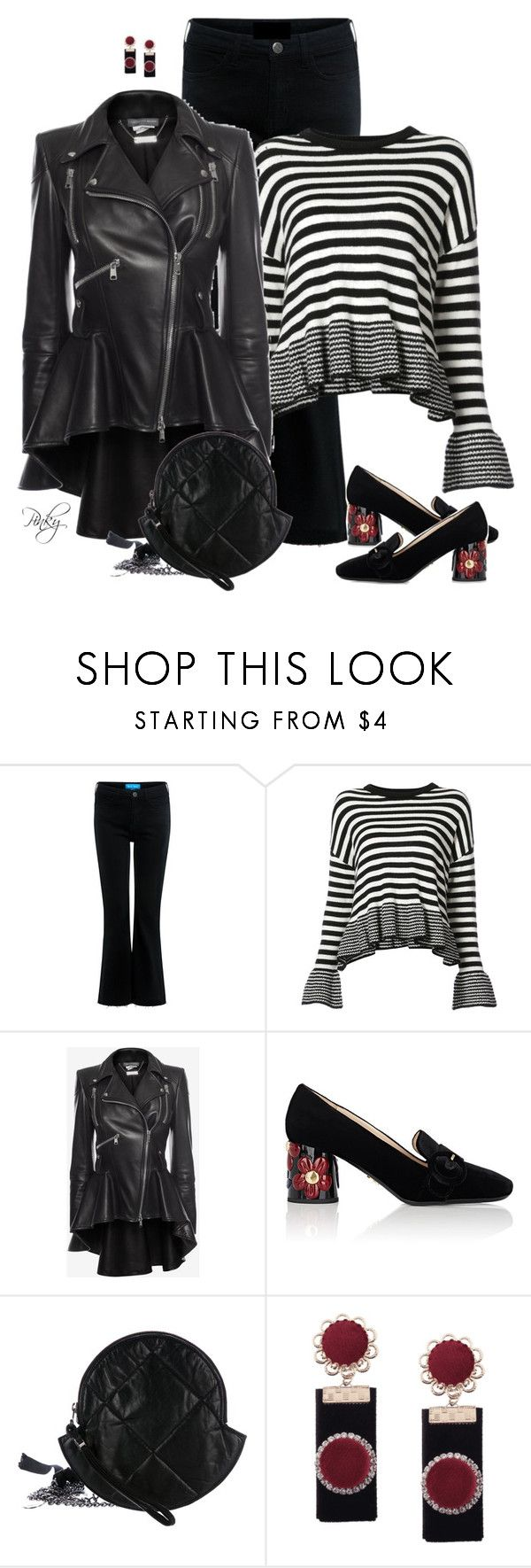 """Striped Jumper & Heeled Loafers"" by pinkystyle ❤ liked on Polyvore featuring M.i.h Jeans, Cinq à Sept, Alexander McQueen, Prada and Moncler"