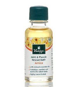 Kneipp Arnica Joint Muscle Bath .68 oz by Kneipp. $4.99. Please read all label information on delivery.. Country of origin: Germany. . 68oz oil. Kneipp Joint & Muscle Rescue Bath, with valuable active ingredients of the arnica blossom and aroma-intensive essential pine oils, is specially suited for use after physical activities. It helps relieve joints and muscles. The whole body benefits from its revitalizing, soothing and warming effects. Additional sunflower oil moisturizes skin.