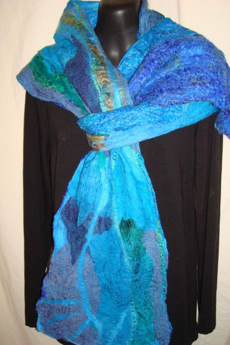 Kapi Wirunya- beautiful water. Reversible nuno felted scarf Australian Merino wool and silk Sold www.facebook.com/wowcreationsqld
