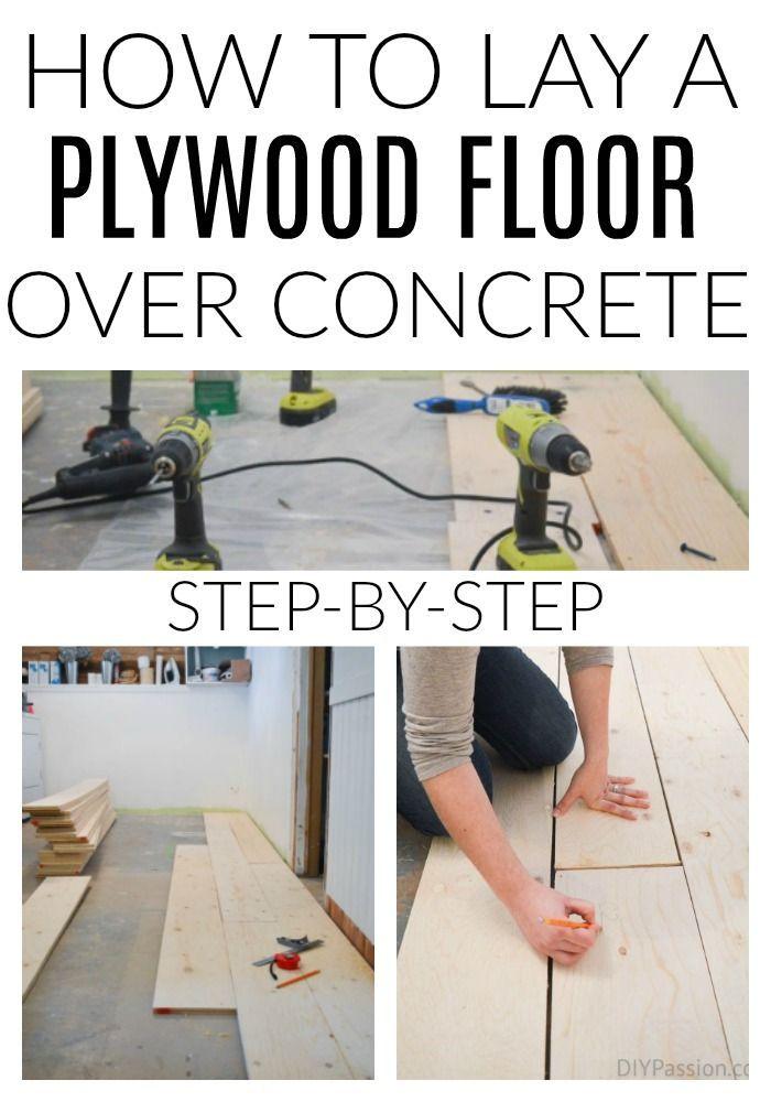 How To Update Concrete Floors For A Rustic Look Diy Wood Floors Plywood Flooring Diy Wood Plank Flooring