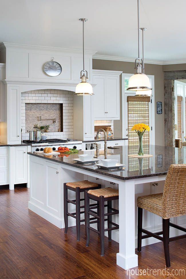 This large kitchen island required two slabs of granite. #housetrends