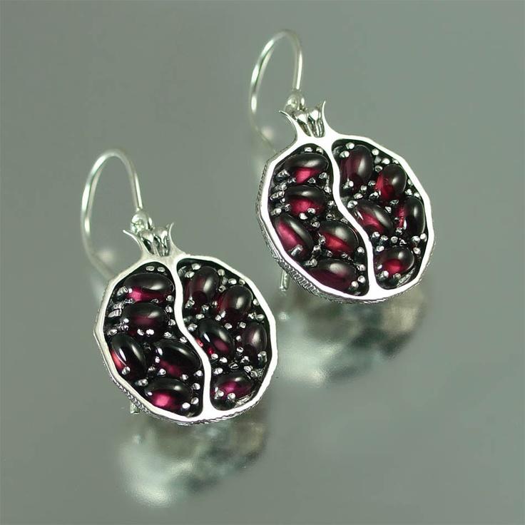 POMEGRANATE garnet silver earrings. $315.00, via Etsy.