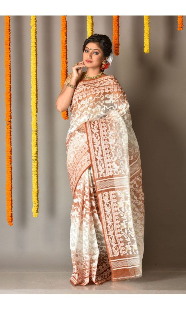 Rust - White - Dhakai Jamdani Saree - Colors Of Bengal - adi4082 | Adimohinimohankanjilal