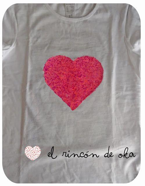 EL RINCÓN DE OKA: DIY: Estampar una camiseta con plastidecor - T-shirt printing with crayons